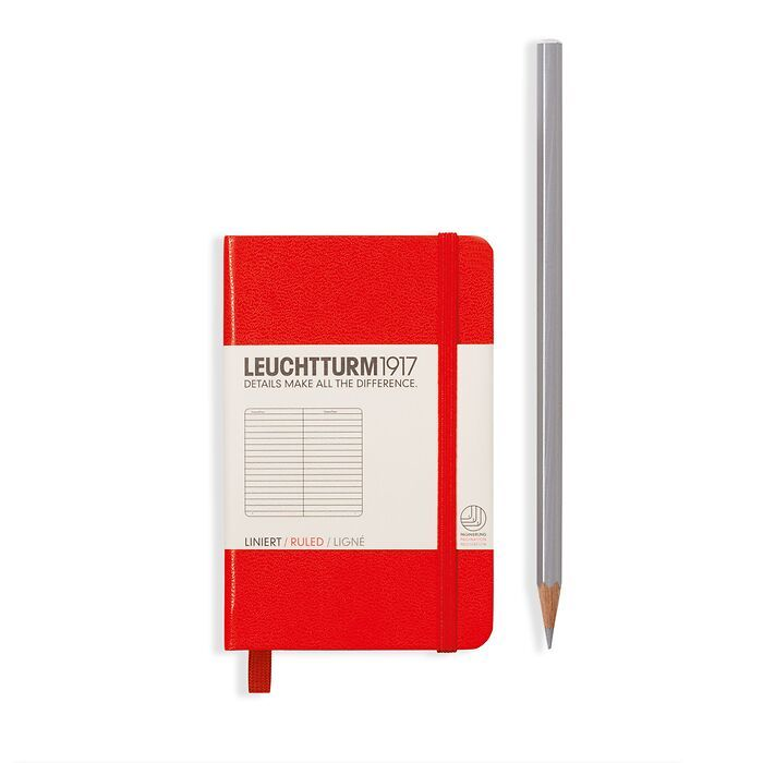 Notebook Mini (A7), Hardcover, 171 numbered pages, Red, ruled