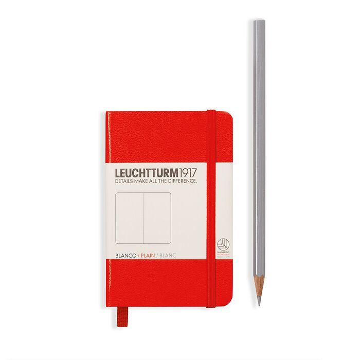 Notebook Mini (A7), Hardcover, 171 numbered pages, Red, plain