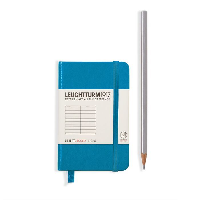 Notebook Mini (A7), Hardcover, 171 numbered pages, Azure, plain
