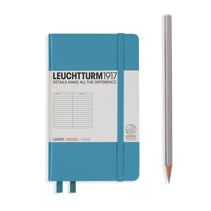Notebook Pocket (A6), Hardcover, 187 numbered pages, Nordic  Blue, ruled