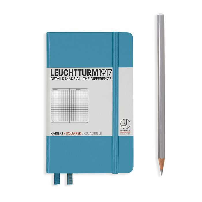 Notebook Pocket (A6), Hardcover, 187 numbered pages, Nordic  Blue, squared