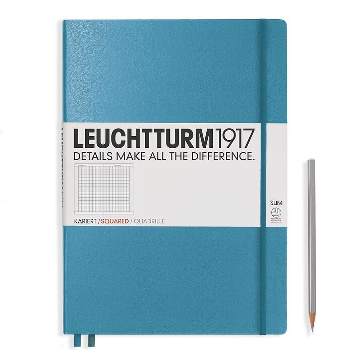 Notebook Master Slim (A4+), Hardcover, 123 numbered pages, Nordic Blue, squared