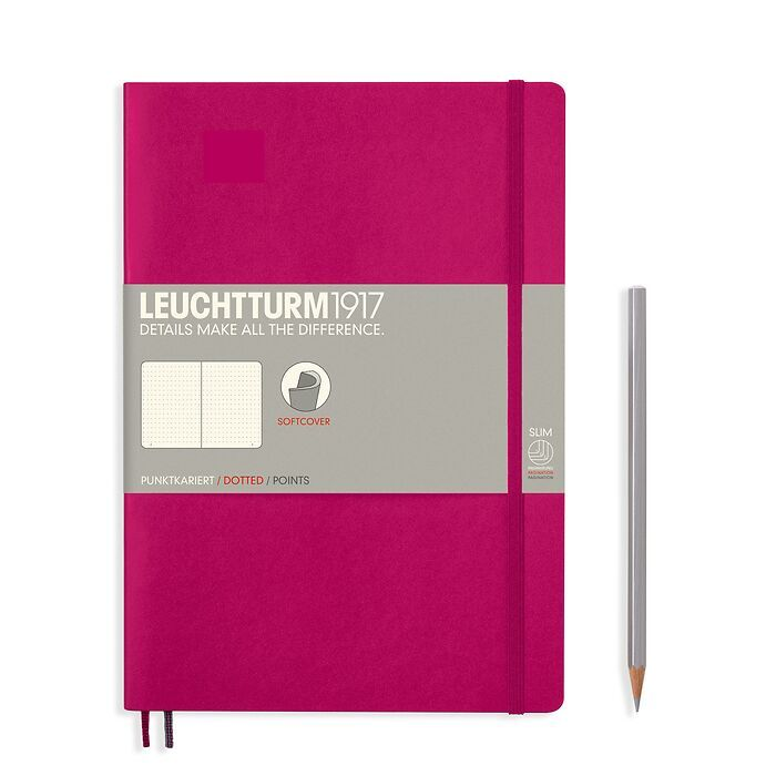 Notebook Composition (B5), Softcover, 123 numbered pages, Berry, dotted