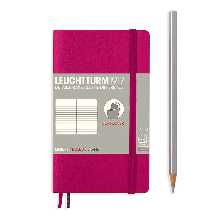 Notebook Pocket (A6), Softcover, 123 numbered pages, Berry,  ruled