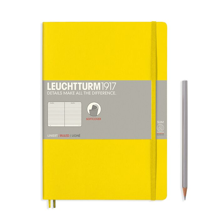 Notebook Composition (B5), Softcover, 123 numbered pages, Lemon, ruled