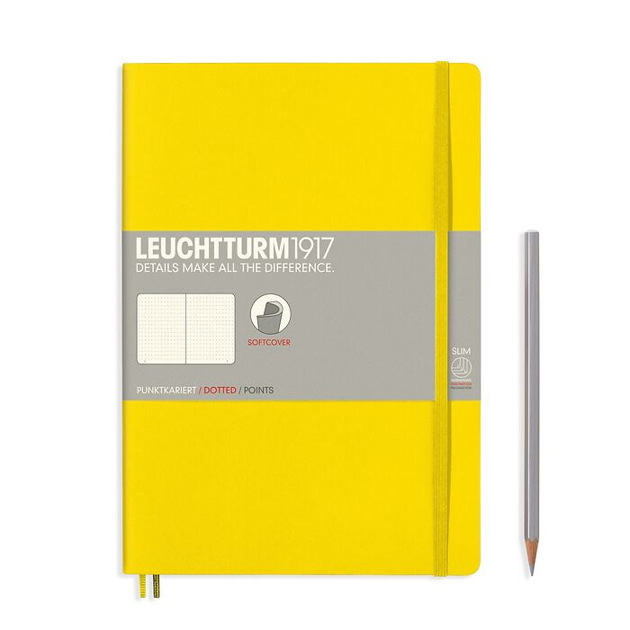 Notebook Composition (B5), Softcover, 123 numbered pages, Lemon, dotted