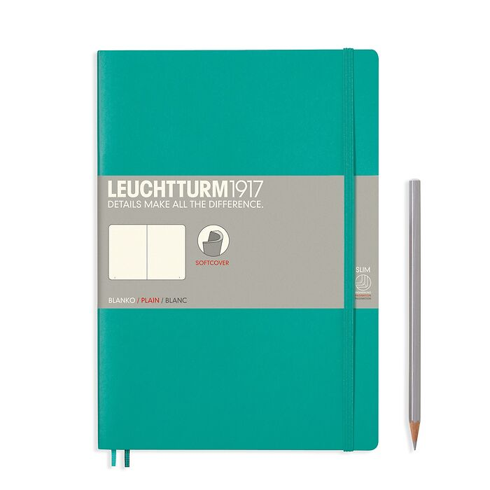 Notebook Composition (B5), Softcover, 123 numbered pages, Emerald, plain