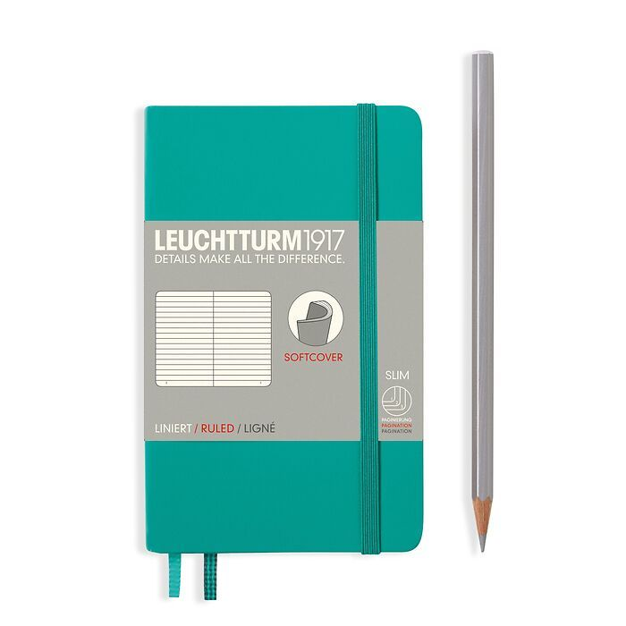 Notebook Pocket (A6), Softcover, 123 numbered pages, Emerald, ruled
