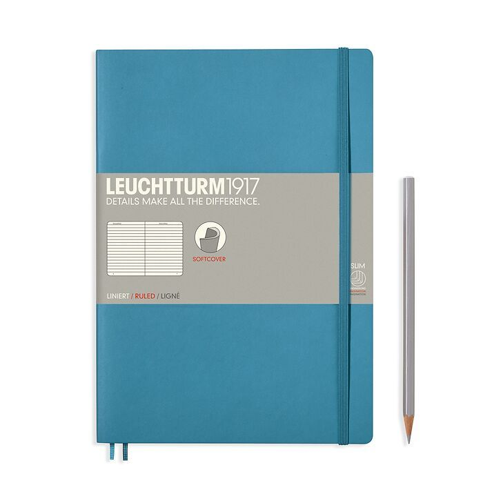 Notebook Composition (B5), Softcover, 123 numbered pages, Nordic Blue, ruled