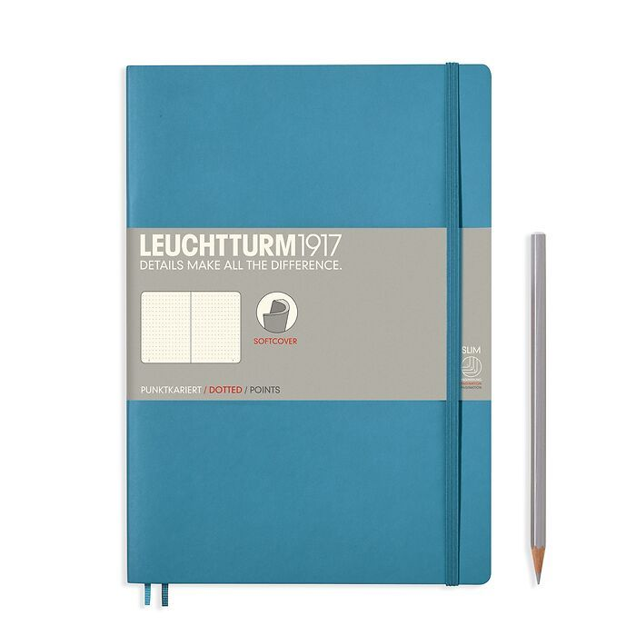 Notebook Composition (B5), Softcover, 123 numbered pages, Nordic Blue, dotted
