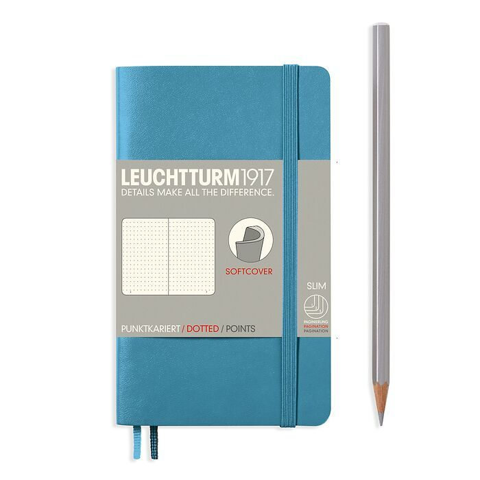 Notebook Pocket (A6), Softcover, 123 numbered pages, Nordic  Blue, dotted