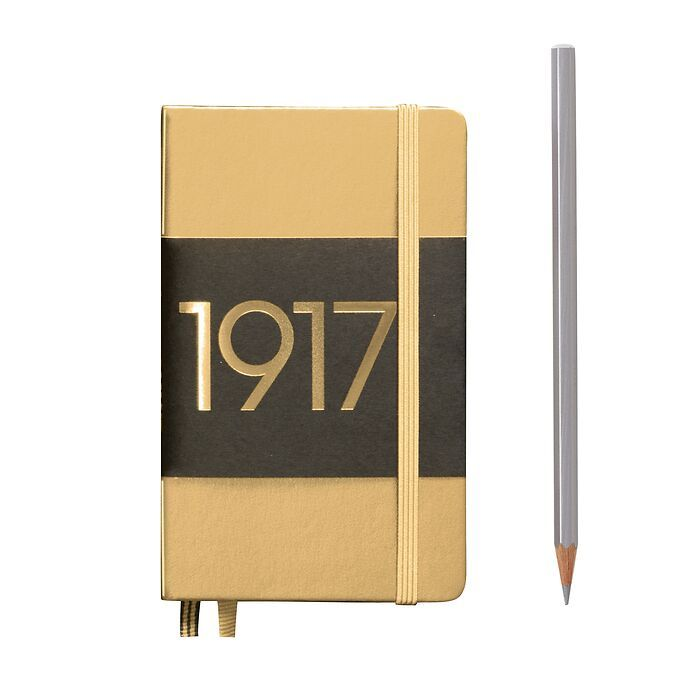 Notebook Pocket (A6), Hardcover, 187 numbered pages, Gold, plain