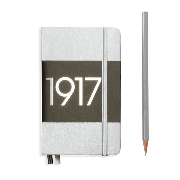 Notebook Pocket (A6), Hardcover, 187 numbered pages, Silver, ruled