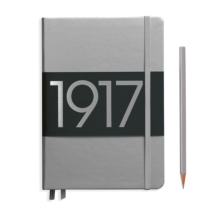 Notebook Medium (A5), Hardcover, 251 numbered pages, Silver, ruled