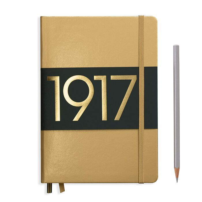 Notebook Medium (A5), Hardcover, 251 numbered pages, Gold, dotted