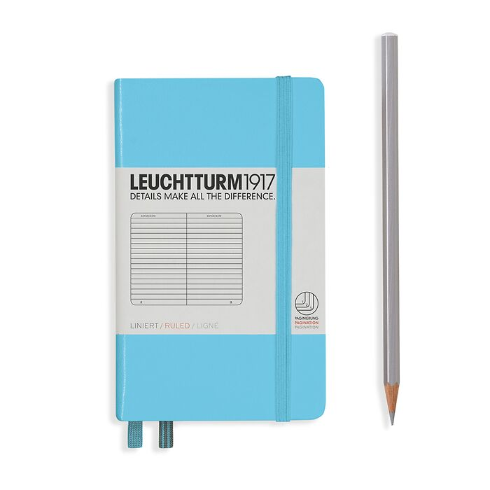 Notebook Pocket (A6), Hardcover, 187 numbered pages, Ice Blue, ruled