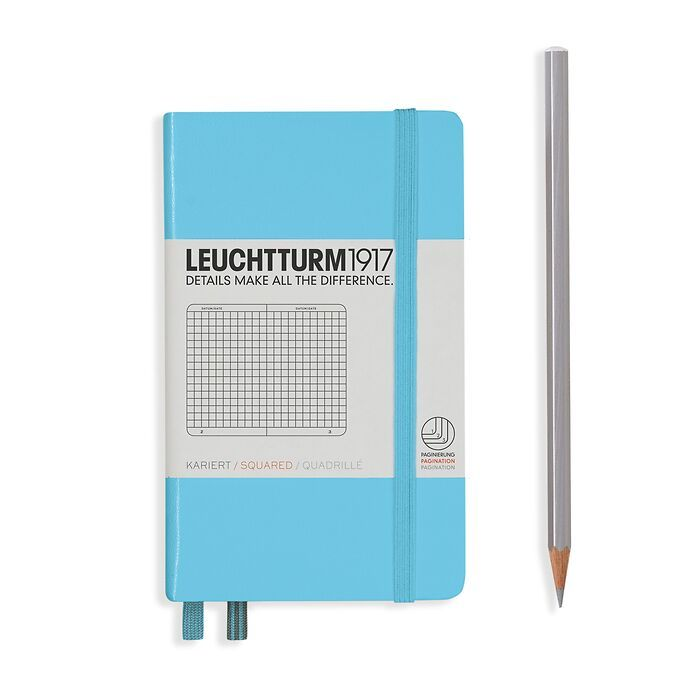 Notebook Pocket (A6), Hardcover, 187 numbered pages, Ice Blue, squared