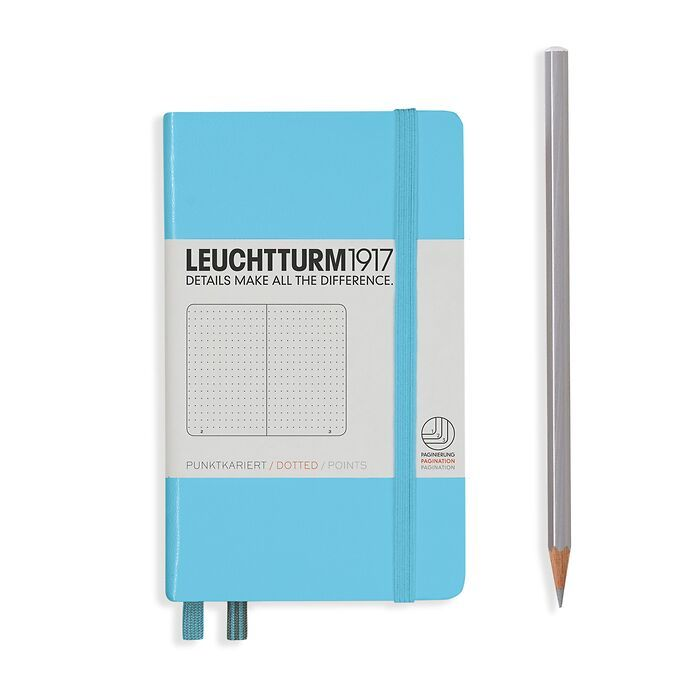 Notebook Pocket (A6), Hardcover, 187 numbered pages, Ice Blue, dotted