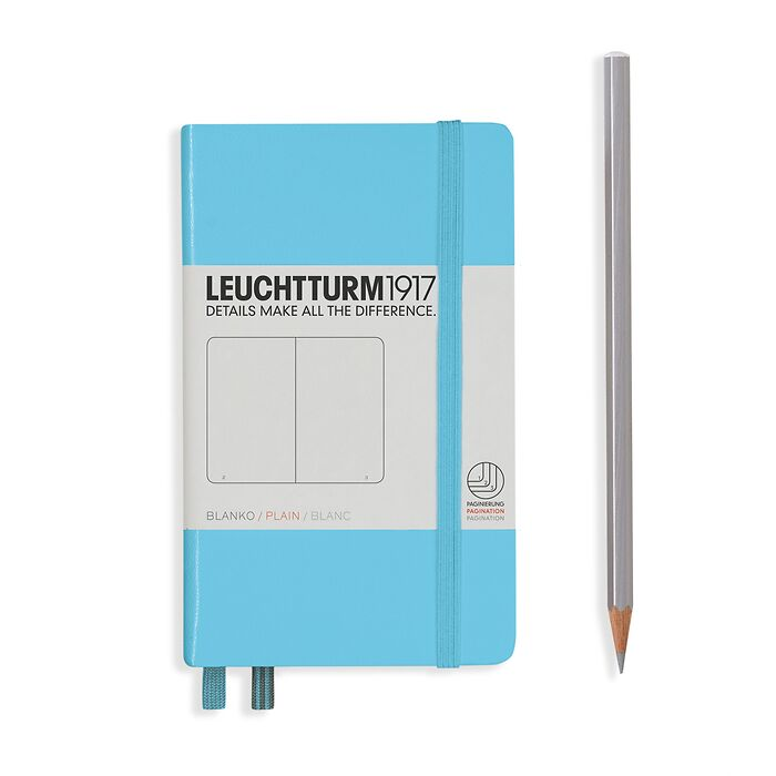 Notebook Pocket (A6), Hardcover, 187 numbered pages, Ice Blue, plain