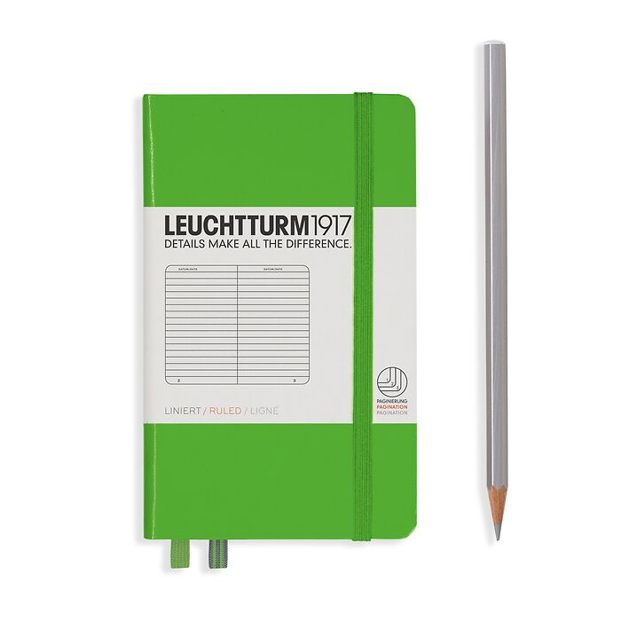 Notebook Pocket (A6), Hardcover, 187 numbered pages, Fresh Green, ruled