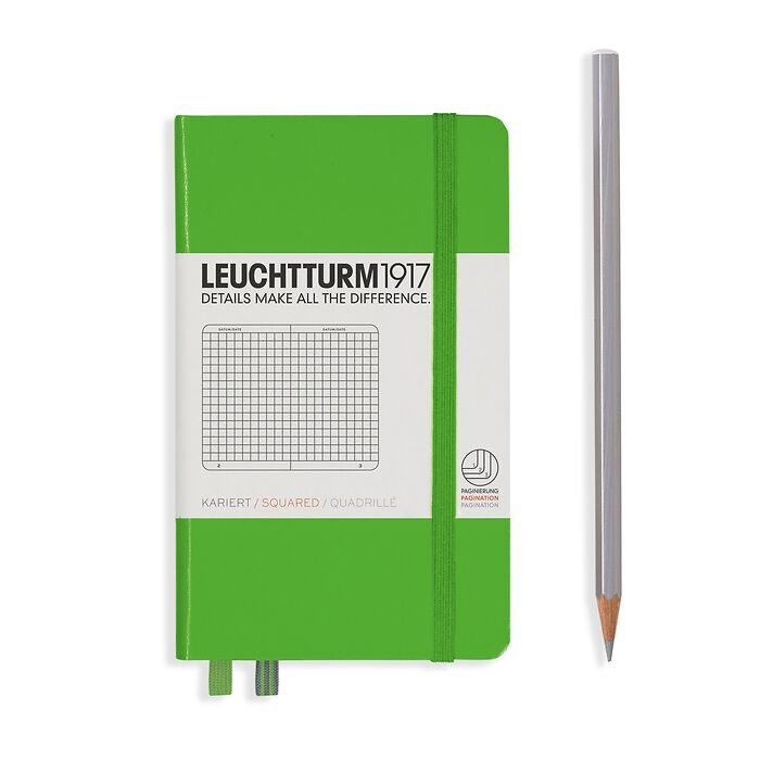 Notebook Pocket (A6), Hardcover, 187 numbered pages, Fresh Green, squared