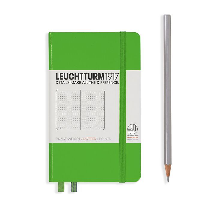 Notebook Pocket (A6), Hardcover, 187 numbered pages, Fresh Green, dotted