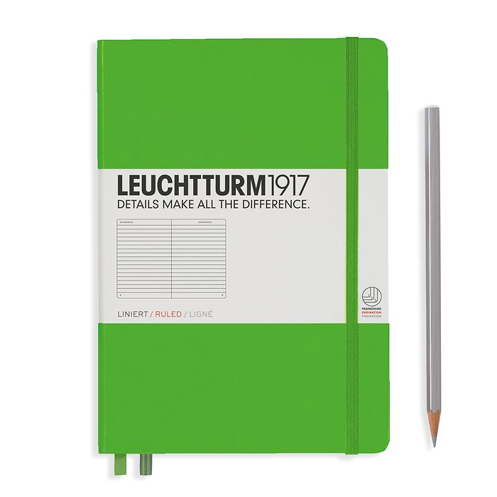 Notebook Medium (A5), Hardcover, 251 numbered pages, Fresh Green, ruled