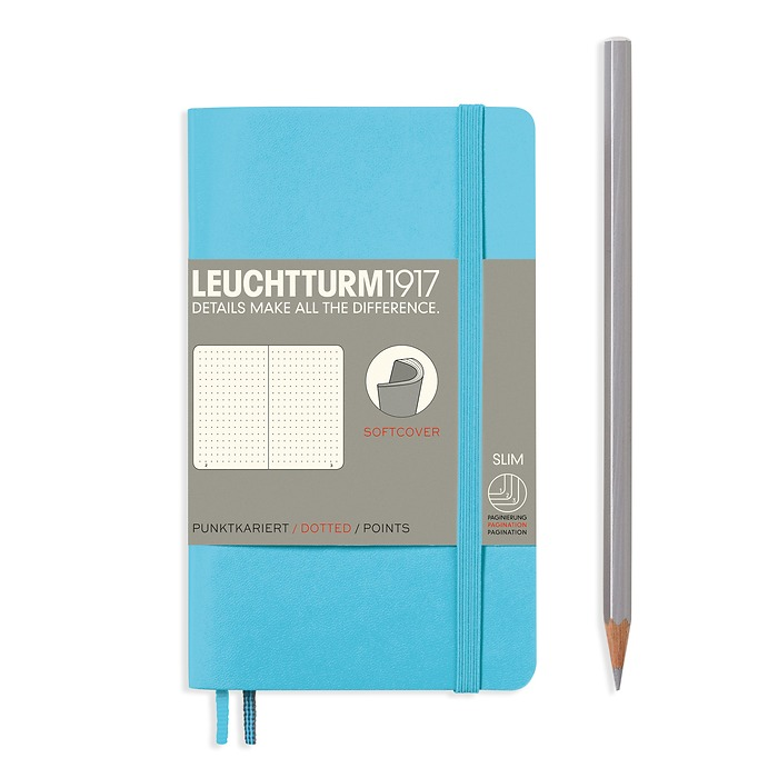 Notebook Pocket (A6), Softcover, 123 numbered pages, Ice Blue, dotted
