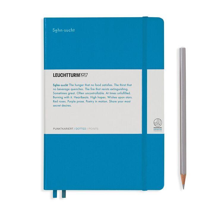 Notebook Medium (A5), Hardcover, 251 num. p. Azure, dotted - Leuchtkraft (Sehnsucht)