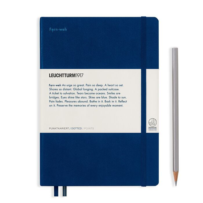 Notebook Medium (A5), Hardcover, 251 num. p. Navy, dotted -  Leuchtkraft (Fernweh)