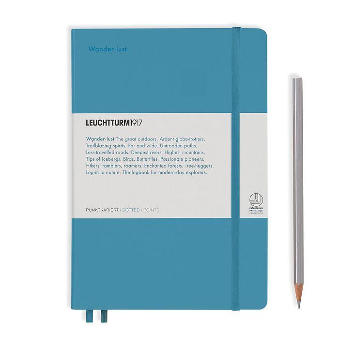 Notebook Medium (A5), Hardcover, 251 num. p. Nordic Blue, dotted - Leuchtkraft (Wanderlust