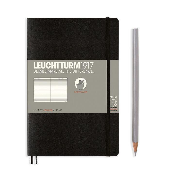 Notebook Paperback (B6+), Softcover, 123 numbered pages, Black, ruled