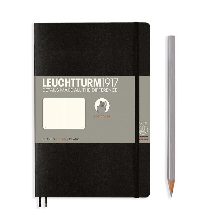 Notebook Paperback (B6+), Softcover, 123 numbered pages, Black, plain