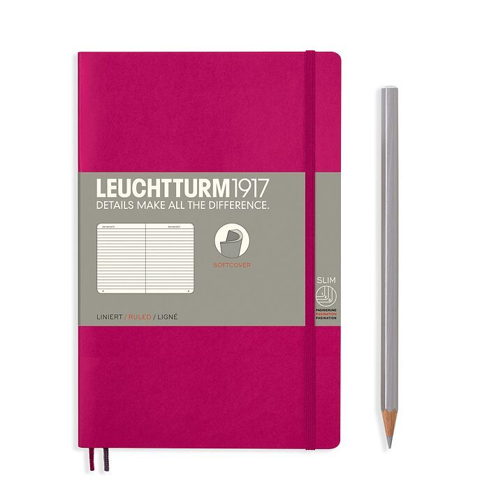 Notebook Paperback (B6+), Softcover, 123 numbered pages, Berry, ruled