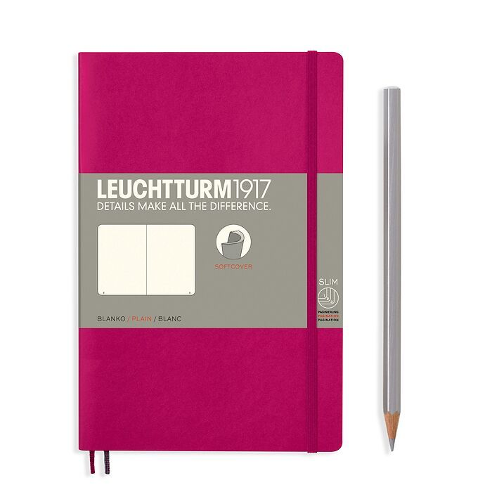 Notebook Paperback (B6+), Softcover, 123 numbered pages, Berry, plain