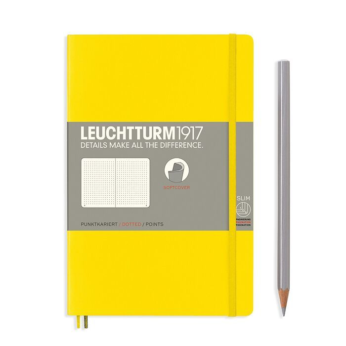 Notebook Paperback (B6+), Softcover, 123 numbered pages, Lemon, dotted