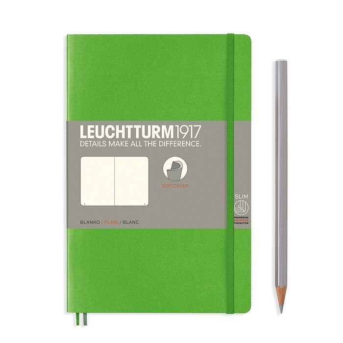 Notebook Paperback (B6+), Softcover, 123 numbered pages, Fresh Green, plain