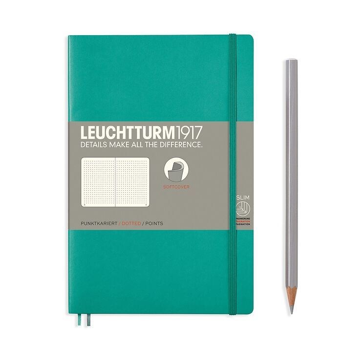 Notebook Paperback (B6+), Softcover, 123 numbered pages, Emerald, dotted