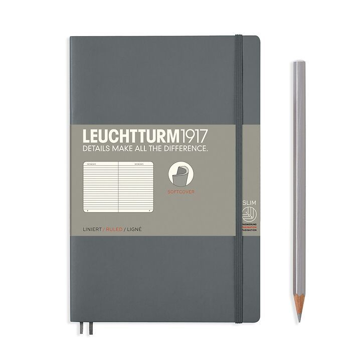 Notebook Paperback (B6+), Softcover, 123 numbered pages, Anthracite, ruled