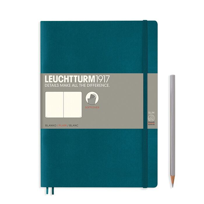 Notebook Composition (B5), Softcover, 123 numbered pages, Pacific Green, plain
