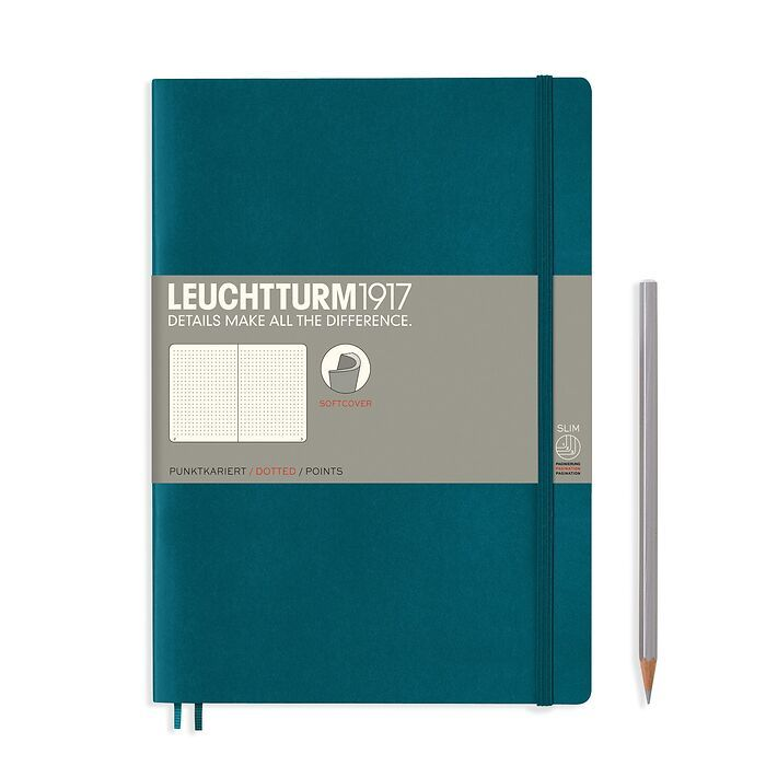 Notebook Composition (B5), Softcover, 123 numbered pages, Pacific Green, dotted