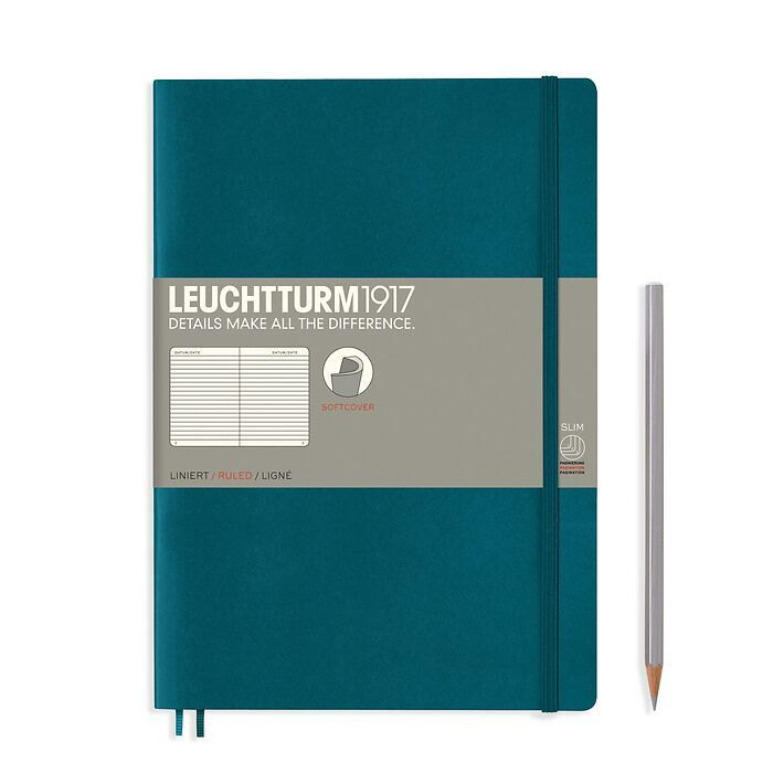 Notebook Composition (B5), Softcover, 123 numbered pages, Pacific Green, ruled