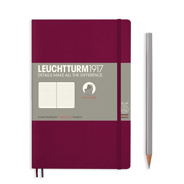 Notebook Paperback (B6+), Softcover, 123 numbered pages, Port Red, dotted