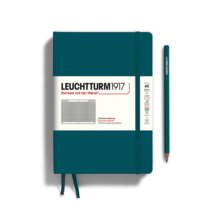 Notebook Medium (A5), Hardcover, 251 numbered pages, Pacific Green, squared