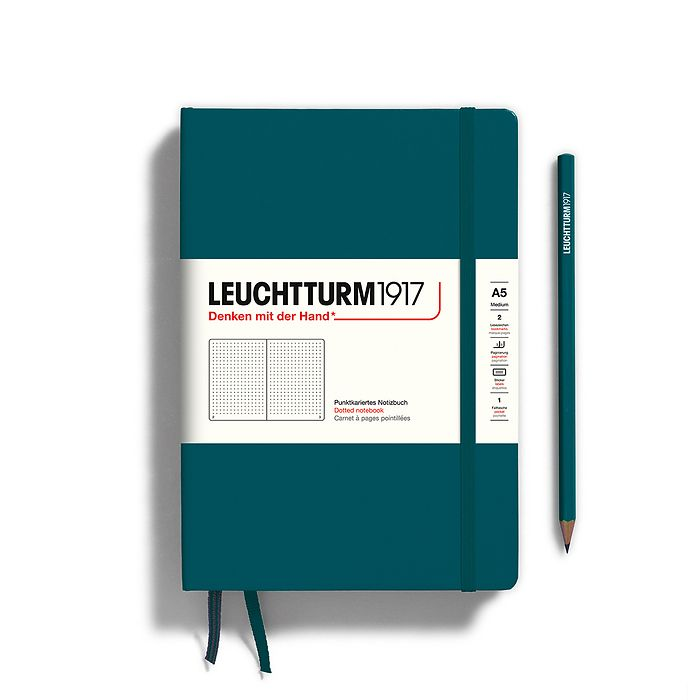 Notebook Medium (A5), Hardcover, 251 numbered pages, Pacific Green, dotted