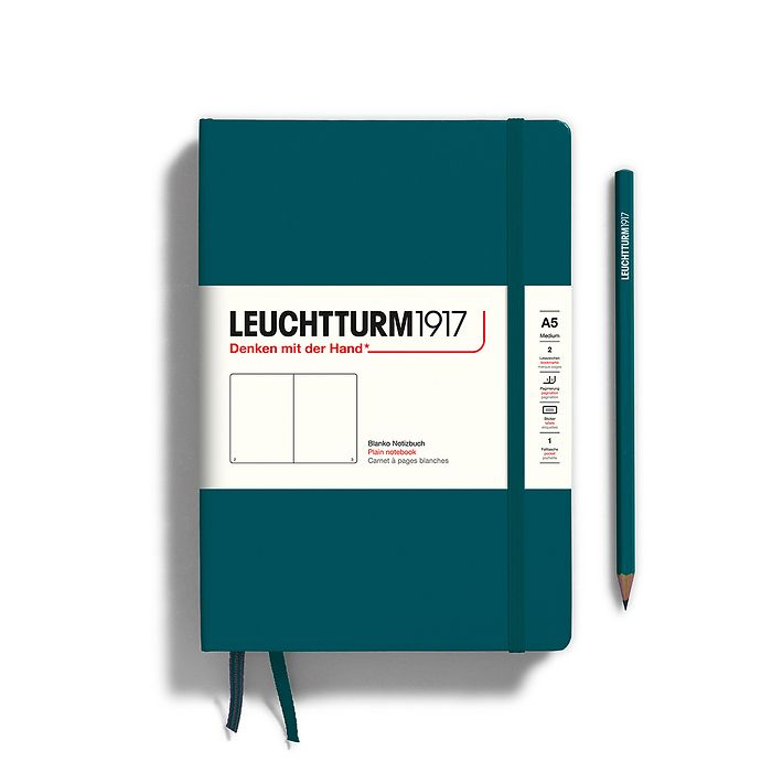 Notebook Medium (A5), Hardcover, 251 numbered pages, Pacific Green, plain