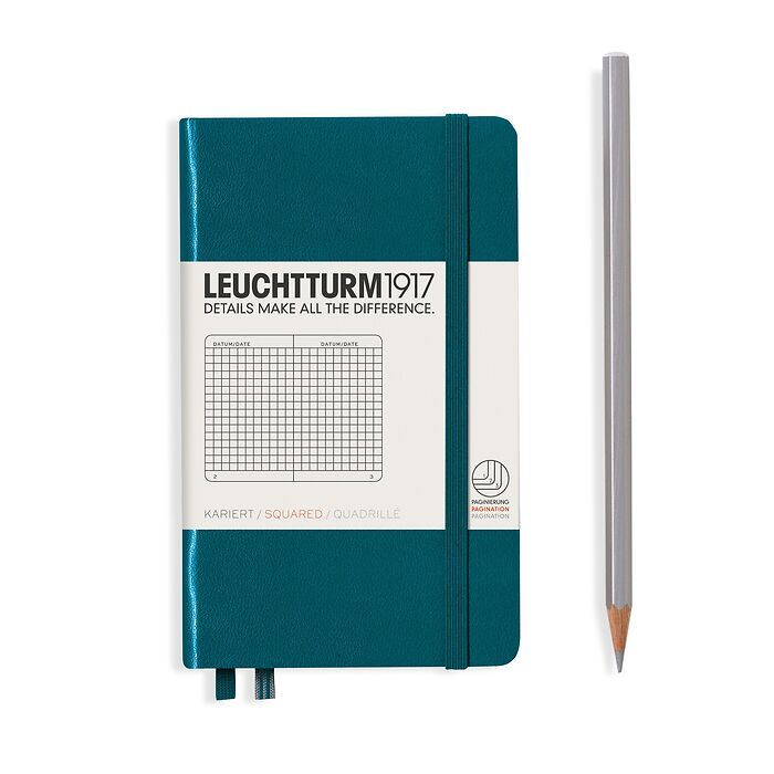 Notebook Pocket (A6), Hardcover, 187 numbered pages, Pacific Green, squared