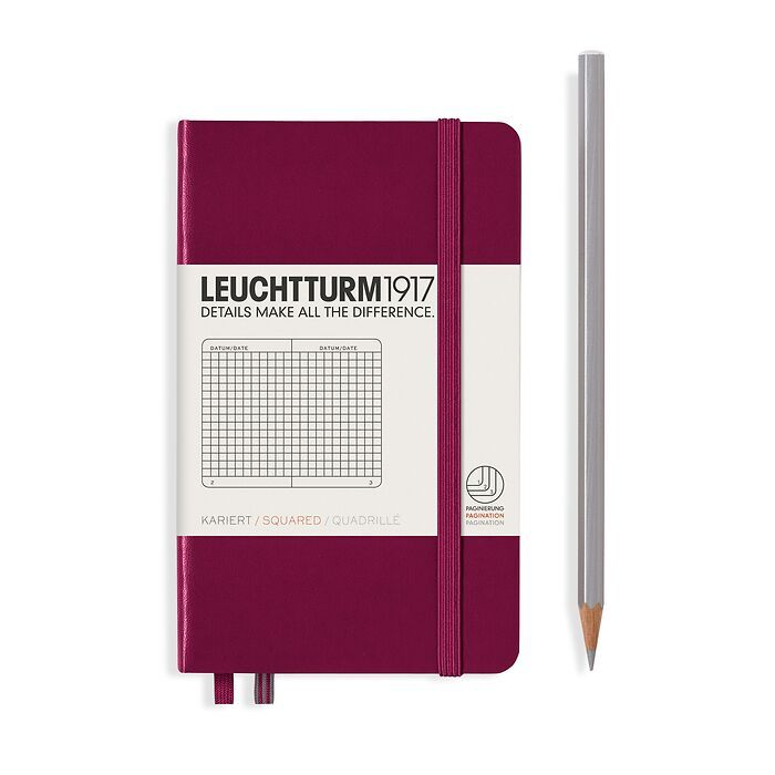 Notebook Pocket (A6), Hardcover, 187 numbered pages, Port Red, squared