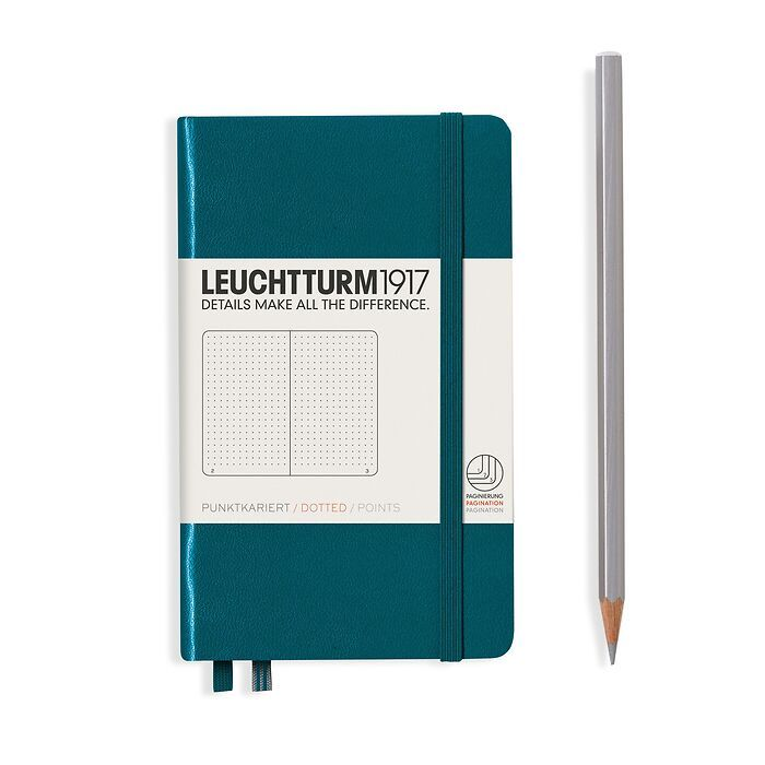 Notebook Pocket (A6), Hardcover, 187 numbered pages, Pacific Green, dotted