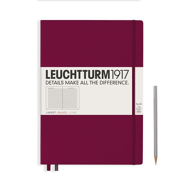 Notebook Master Slim (A4+), Hardcover, 123 numbered pages, Port Red, ruled